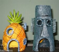 SpongeBob Pineapple House & Squidward Easter Island Home Aquarium Decoration 2pk