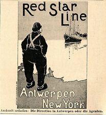 RED STAR LINE Antwerpen - New York  Historische Reklame von 1899