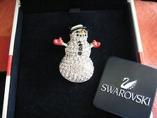 SWAROVSKI SWAN SIGNED CLEAR CRYSTAL SNOWMAN BROOCH PIN RETIRED NEW 2003