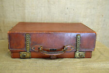 Vintage Hegaro leather suitcase, 1920's/30s, motoring trunk, expands, brass (B)