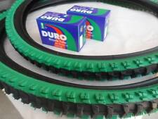 "26x1.95 Black Green Bicycle Knobby Tires + Tubes Mountain Bike 26"" NEW 26x1.95"
