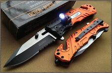 TACFORCE EMT SPRING ASSISTED LED LIGHT KNIFE 4.75 INCH CLOSED WITH CLIP