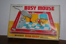 Vintage 1950'S TPS MECHANICAL WIND UP BUSY MOUSE  Works! in Original Box
