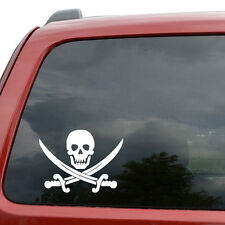 "Crossed Swords Pirate Skull Car Window Decor Vinyl Decal Sticker- 6"" Wide White"
