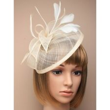 LADIES cream HATINATOR HAIR FASCINATOR 5266 FEATHERS HAT WEDDING hessian