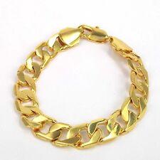 """9 """" 12mm 18K GOLD FILLED stoneless Catena Braccialetto Boyfriend's Xmas regalo di compleanno"""