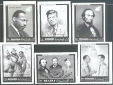 Manama 1968 ** Mi.99/104 B Luther King JFK Kennedy Lincoln Soldaten
