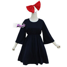 Kiki's Delivery Service Navy Blue Halloween Cosplay Costume Women One Size Dress