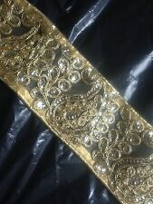 Fancy Gold Sequin Indian Lace Trim New Organza Ribbon 7cm Wide