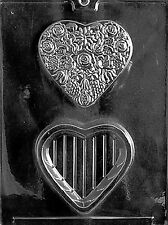 FLOWERED HEART POUR BOX  mold molds Chocolate Candy roses valentines flowers
