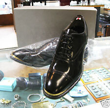 New Authentic Alexander Mcqueen Men Brass Black Oxfords Dress US Size 9