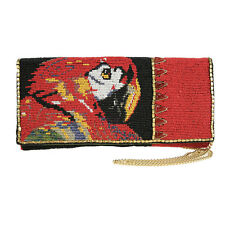 Mary Frances Talk To Me Clutch Parrot Bird Red Beaded Handbag Purse Bag New