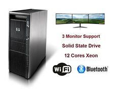 HP Z600 WorkStation Gaming Computer PC 12 Xeon Cores CPU 256GB SSD AMD RX480 4GB