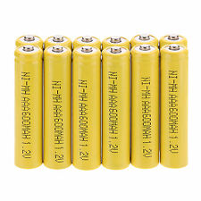 Hot 12 Pcs AAA 3A 600mAh 1.2 V NI-MH Rechargeable Battery Yellow Color Set