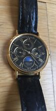 Vintage Pulsar Quartz Watch Moon Phase V33F-8A10 Gold Black Band 231220