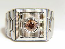 "1.16ct natural fancy color diamond ""watch band"" mens ring 18kt Flexible"
