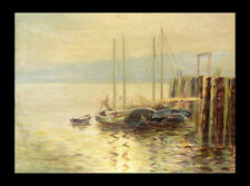 1936 Watercolor Sailboats Dock with Mountains, R. Sherriffs Morrison, Canadian