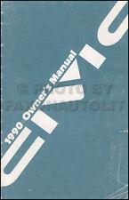1990 Honda Civic Owner's Manual Orignal Sedan and Hatchback OEM Owner Guide Book