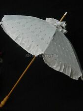 Downton Abbey Victorian Edwardian style White eyelet Parasol extra long handle