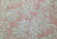 MAGNOLIA HOME ATLANTIS SUNSET CORAL FLORAL BASKETWEAVE LINEN FABRIC BY THE YARD
