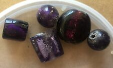 Vintage Sample Card Venetian Purple & Lavender Foil Round Lentil Mix Glass Beads