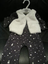 M&S BABY GIRLS 2 PIECE OUTFIT ALL-IN-ONE + FLEECE JACKET 0-3 MONTHS - NEW