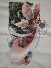 WOW! COMPLETED FINISHED CROSS STITCH ANGEL WITH BEADS