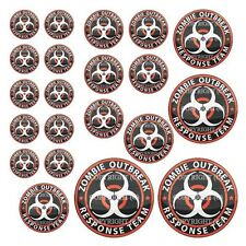 21 Premium Domed Round 3M Decal Sticker Set - ZOMBIE OUTBREAK - 048