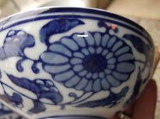 4 X Cuencos oriental con 2 x Cucharas Deep Blue floral que empareja sin usar