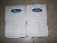 Embroidered Bath or Gym White Hand Towels car logo Ford -Set of 2