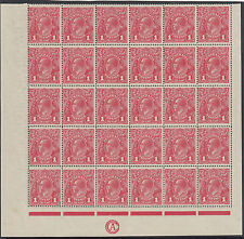 Stamps Australia 1d red KGV single watermark inverted CA monogram block 30, RARE