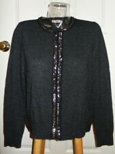 Rebecca Taylor Cinder Gray Wool Cashmere Classic Beaded Cardigan Sweater NWT L