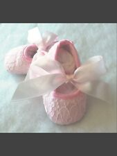 Baby Or Infant Pink Lace w/pink ribbon ties Crib Shoes  (Size Newborn)