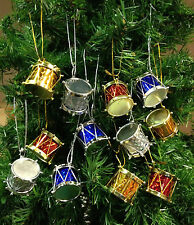 LOT OF 12 MINI GOLD BLUE SILVER RED DRUMS MUSICAL INSTRUMENT CHRISTMAS ORNAMENT