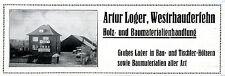 Artur Loger Westrhauderfehn Holz- u. Baumaterialien Historische Reklame 1932