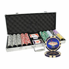 500PC 14G LAS VEGAS LASER TABLE CLAY POKER CHIPS SET w/ Aluminum Case