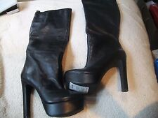 JESSICA SIMPSON Ladies Sz 6,5M BLACK Leather HIGH Heel Platform Knee HighBOOT