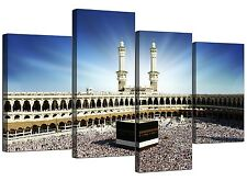 Islamic Canvas Wall Art of Kaaba Hajj in Mecca for Muslims - 4 Panel - Blue
