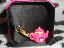 New Juicy Couture Pink Teapot Charm For Bracelet Necklace Handbag Keychain