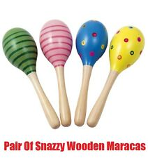 Pair Of Snazzy WOODEN MARACAS Rumba Shakers Rattles Baby Kids Musical Toy Gift