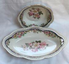 Vintage Schumann Bavaria Arzberg  Reticulate Floral Ribbon Set 2 Bonbon Dish