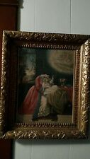 Vtg Antique Jesus Mary Angel gold gesso old ornate wood frame Picture religious