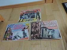 3 WESTERN MOVIE LOBBY CARDS SPANISH HOPALONG CASSIDY WILLIAM BOYD BURT LANCASTER