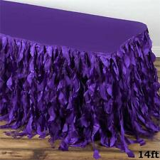 14 ft Purple CURLY TAFFETA TABLE SKIRT Wedding Party Catering Trade Show Banquet