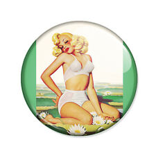 Badge PIN UP BLONDE retro pinup sexy glamour vintage 50's rockabilly pins Ø25mm.