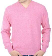 Balldiri 100% Cashmere Kaschmir Herren Pullover V Ausschnitt rosa XXXL