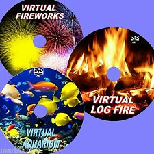 RELAXING VIRTUAL FISH TANK, LOG FIRE & FIREWORKS 3 DVD FOR FLAT SCREEN TVs NEW