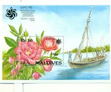 FIORI & NAVI - FLOWERS & SHIP MALDIVES 1990 block