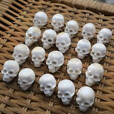 20 pcs Head Skull Carved Buffalo Bone Carving with Resin Fill Hole in the Middle
