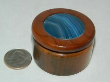 """WOODEN TRINKET BOX WITH AGATE INLAY LID 2"""" HANDCRAFTED – DARK BLUE STONE"""
